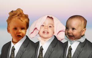 Des visages de bébés dans des complets avec des cravates