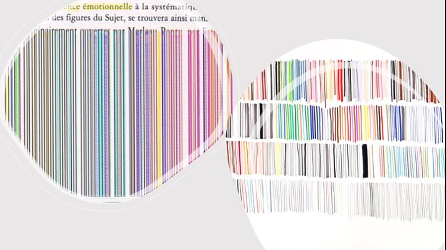 Capture d'écran bug numérique. Magali Babin/ Toutes les couleurs de l'atelier, 2010, crayons et feutres sur papier