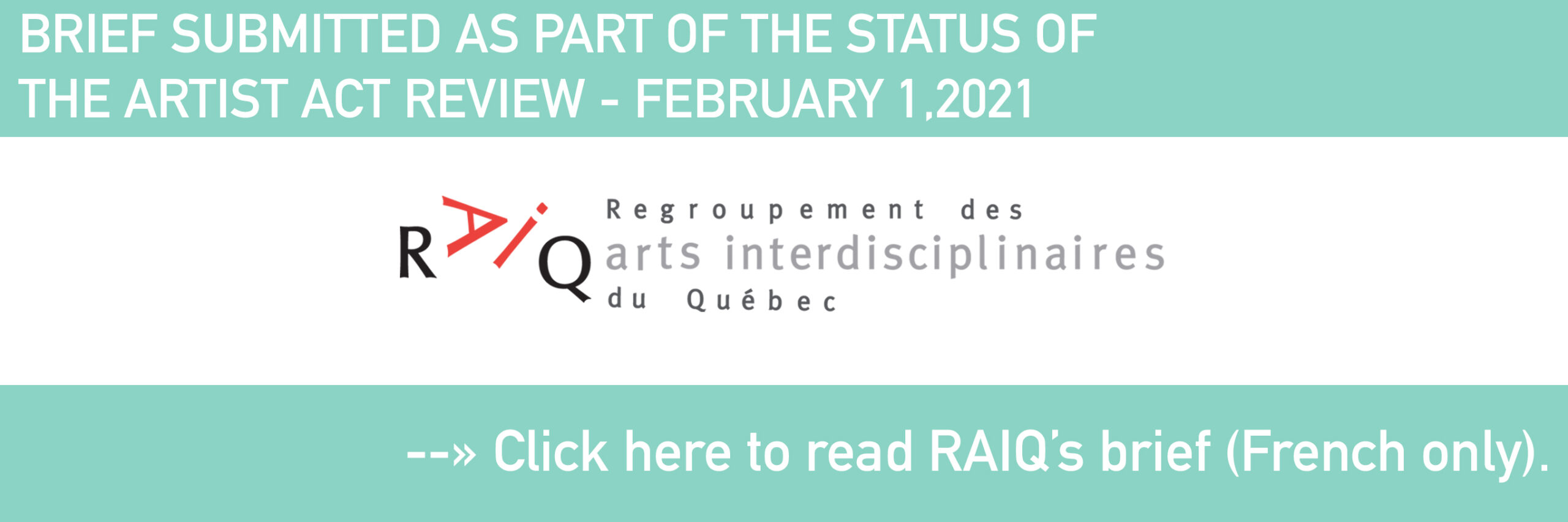 BRIEF SUBMITTED AS PART OF THE STATUS OF THE ARTIST ACT REVIEW - FEBRUARY 1,2021